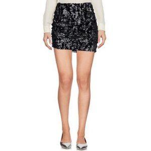 Maje Skirt Black Velvet Skirt In Velour Black 40